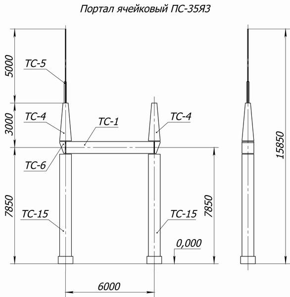 Портал стальной ячейковый ОРУ ПС-35Я3С